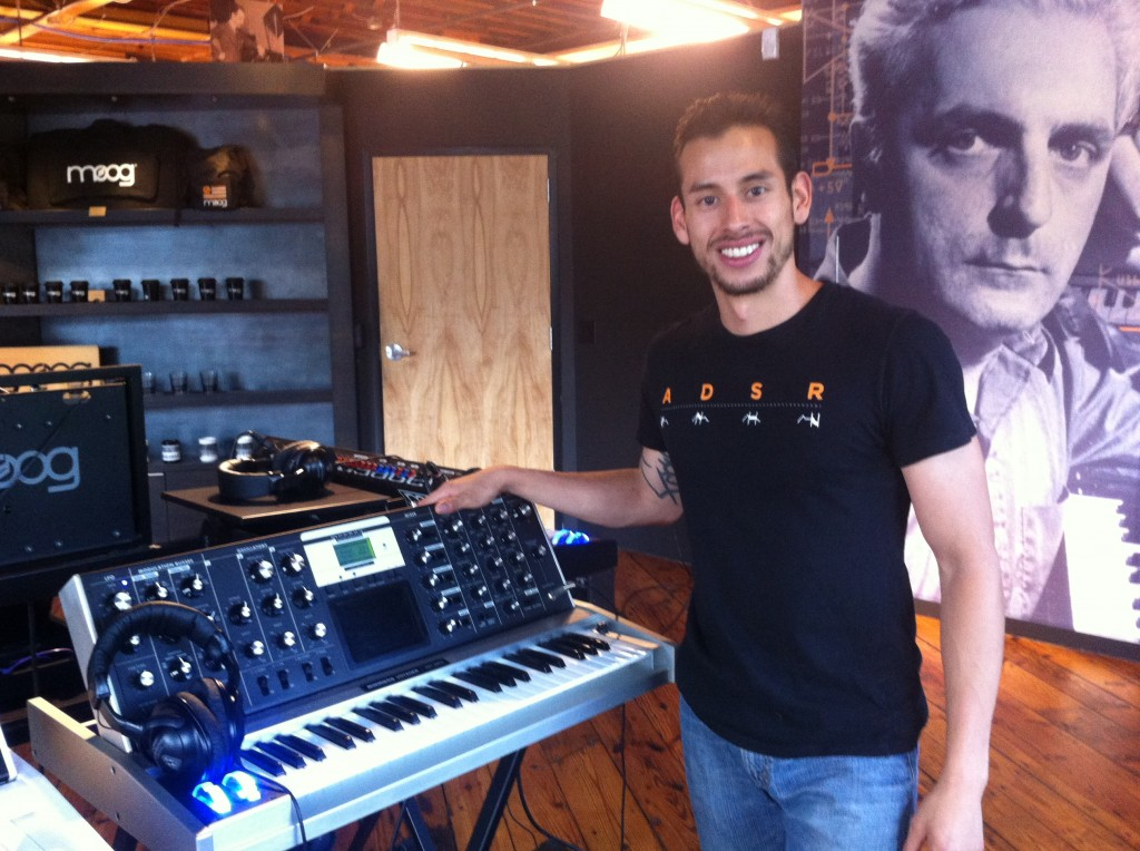 Rob from the Moog shop with his favorite synth