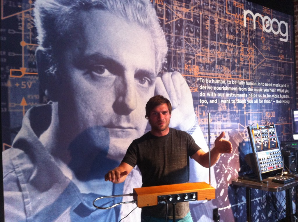 Posing with a Moog theremin